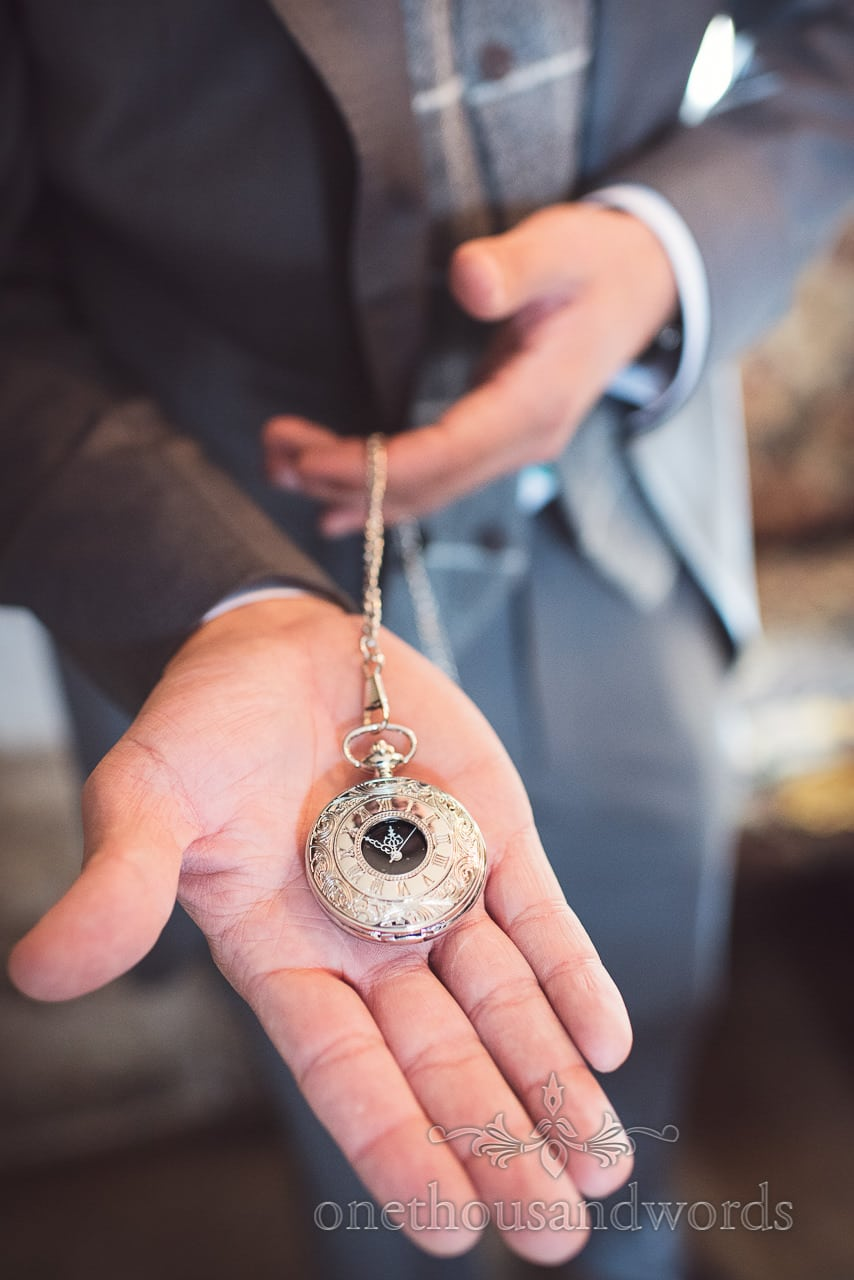 Pocket watch wedding gift from Lulworth Castle Wedding Photographs