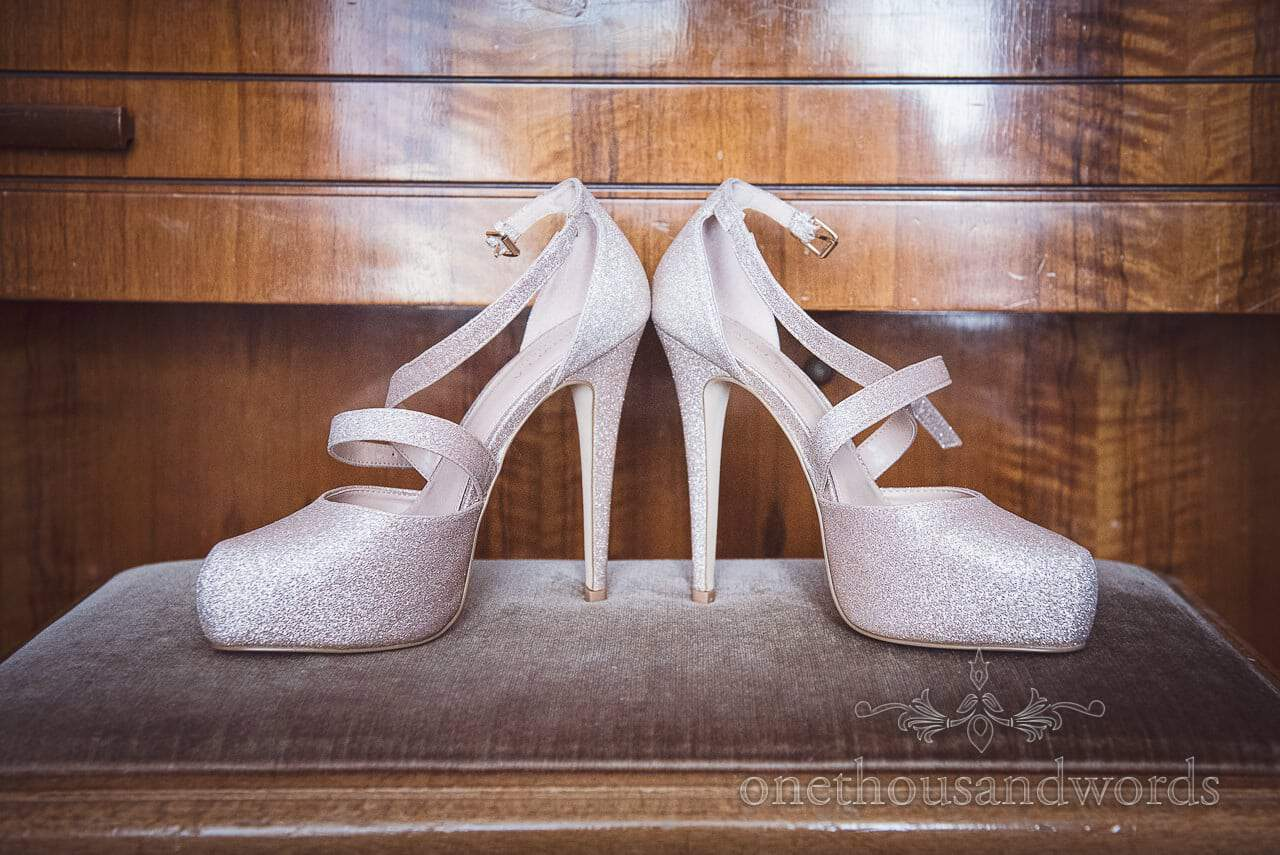 Sparkly high heeled wedding shoes on wedding morning