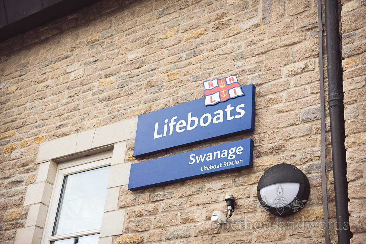 Swanage Lifeboat Station sign from Swanage Lifeboat Engagement Photographs