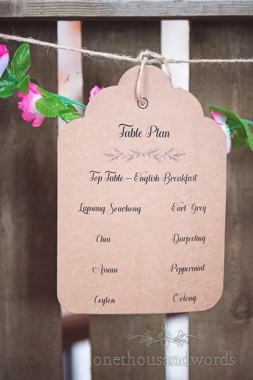 Tea inspired table plan at Lulworth Castle Wedding Photographs