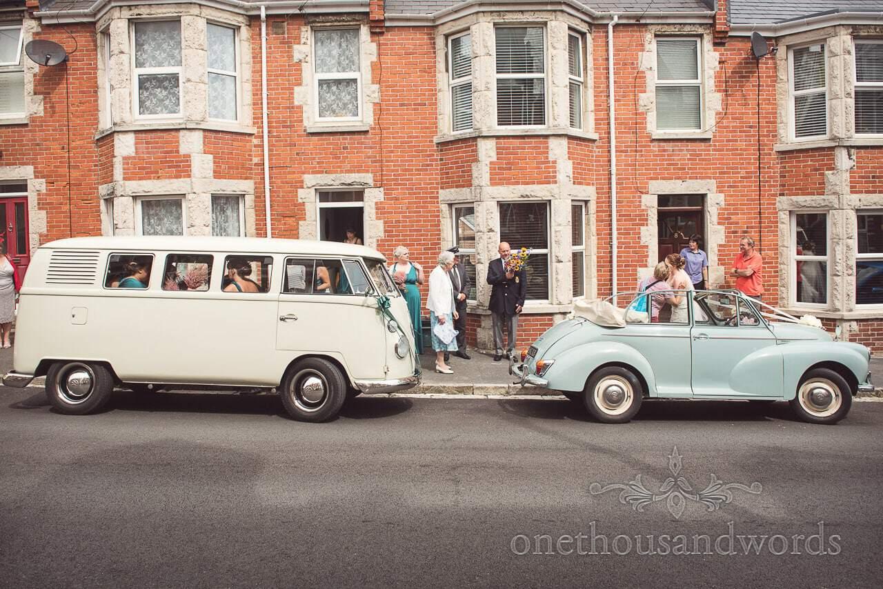 Vintage wedding transport outside brides home before Lulworth wedding
