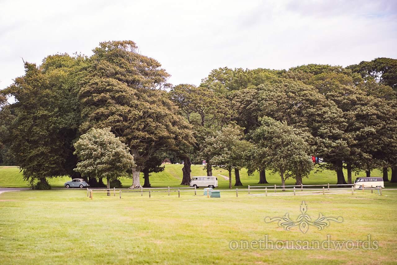 Wedding transport convoy arrives at Lulworth Castle Wedding Photographs