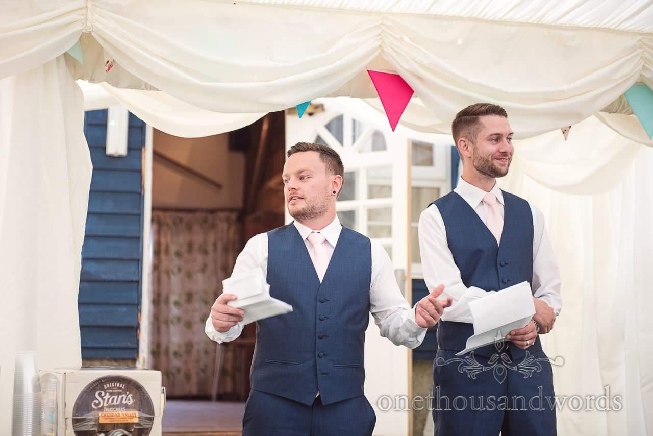 Best men deliver speech during reception at Coppleridge Inn Wedding Photographs