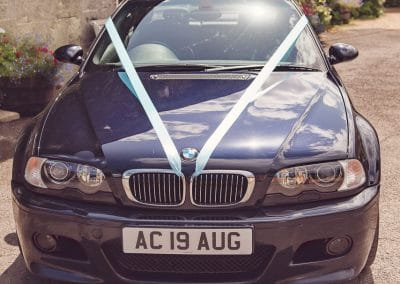 BMW wedding car with wedding date plates at Coppleridge Inn Wedding