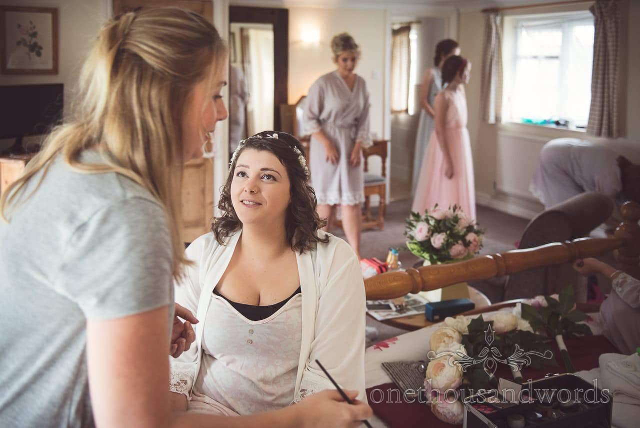 Bridal preparation on morning of Coppleridge Inn Wedding Photographs