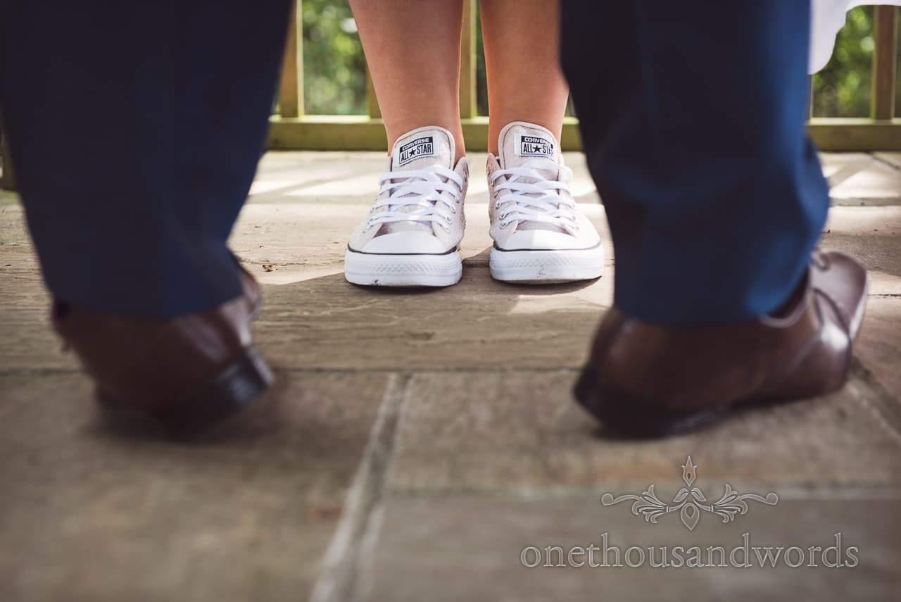 Bride and groom feet during woodland ceremony at Coppleridge Inn Wedding Photographs