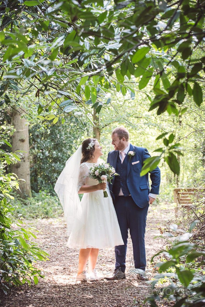Bride and groom in woodland clearing Coppleridge Inn Wedding Photographs