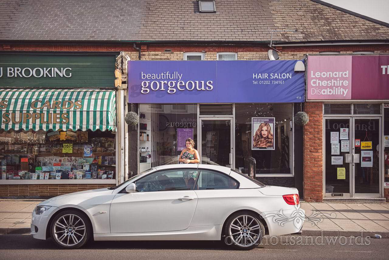 Bride's car and daughter outside Beautifully Gorgeous Hair Salon in Bournemouth