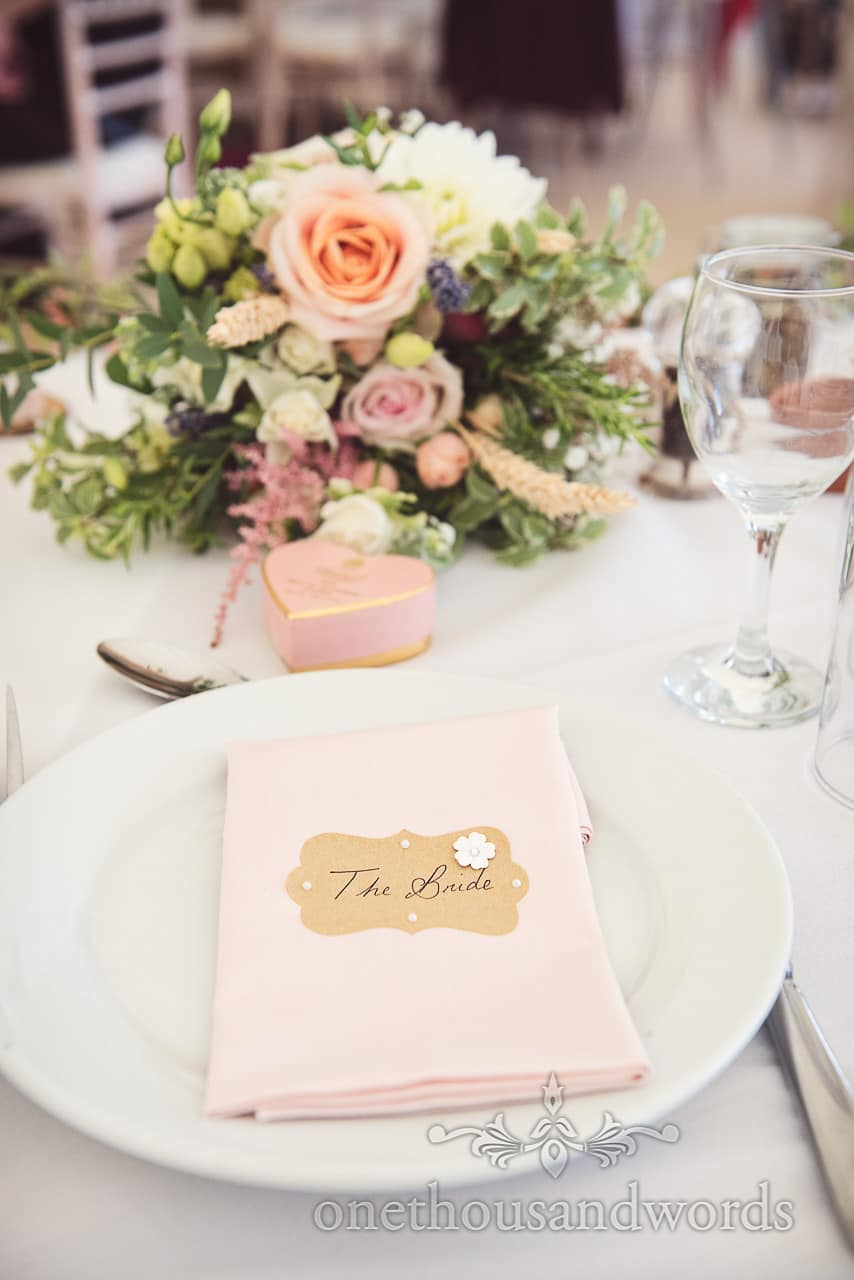 Brides place setting at Purbeck Valley Farm wedding photographs