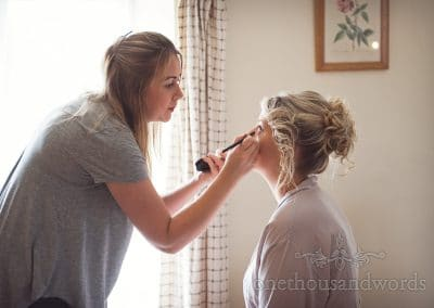 Bridesmaid and make up artist on morning of Coppleridge Inn Wedding