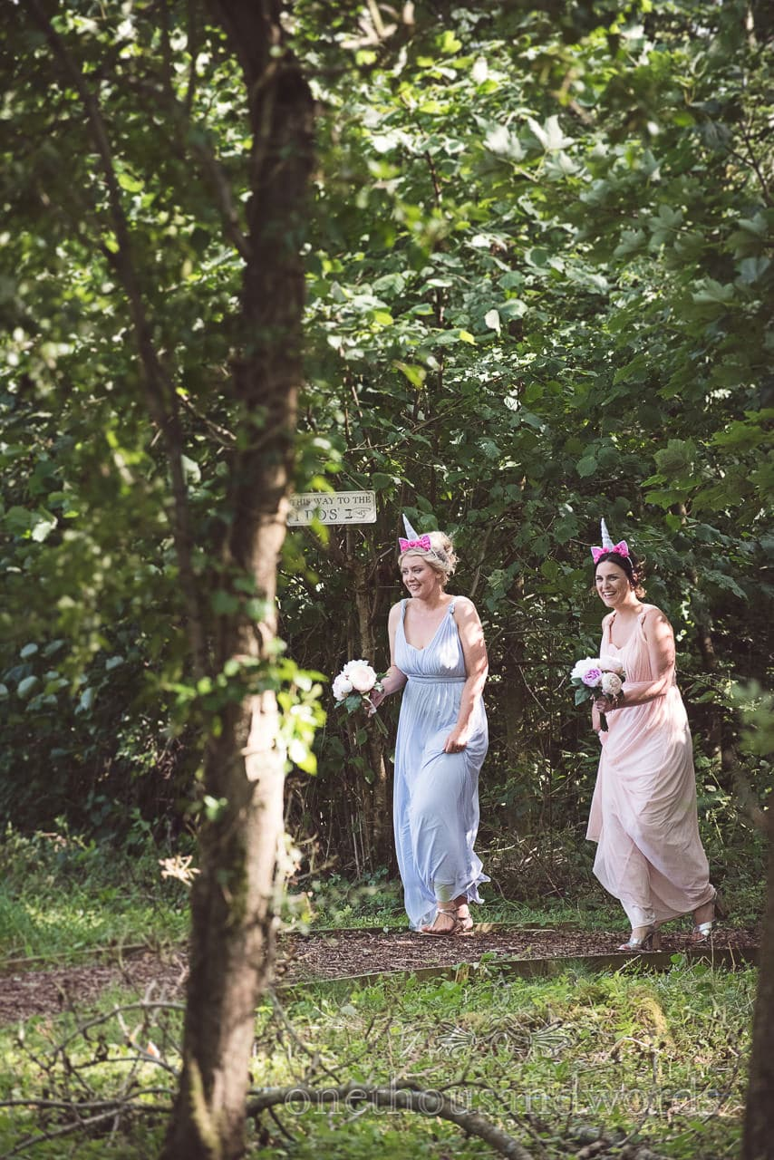 Bridesmaids with unicorn hair bands in the woods at Coppleridge Inn Wedding Photographs