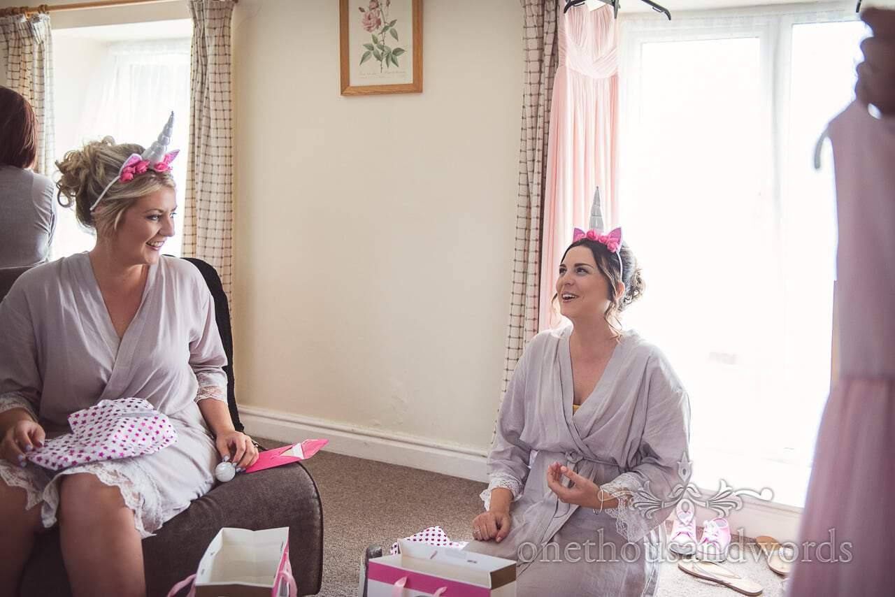 Bridesmaids with unicorn horns at Coppleridge Inn Wedding