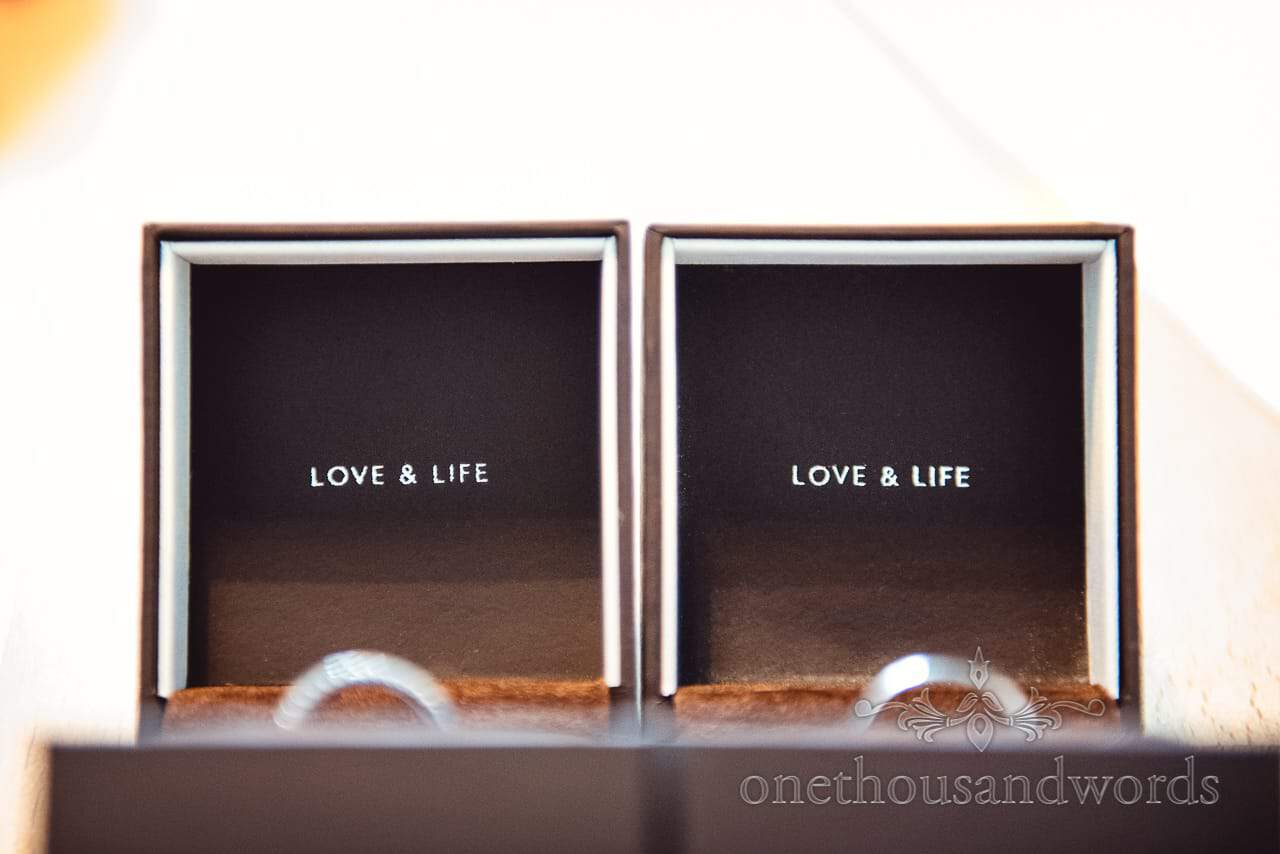 Close up photograph of Love & Life wedding ring boxes