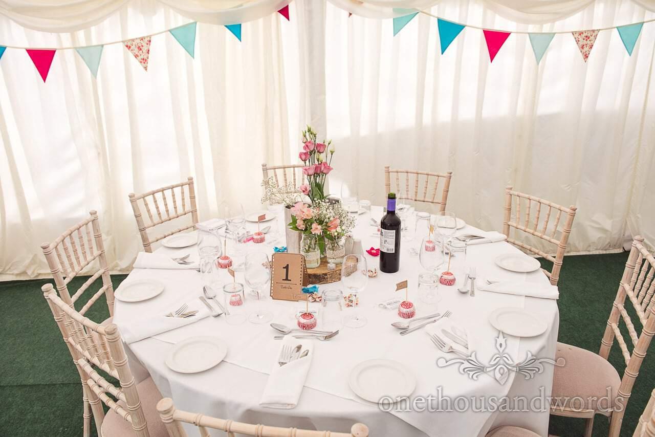 Decorated table for wedding breakfast at Coppleridge Inn Wedding Photographs