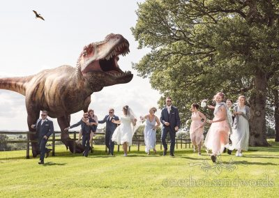 Dinosaur wedding photograph from reception at Coppleridge Inn Wedding