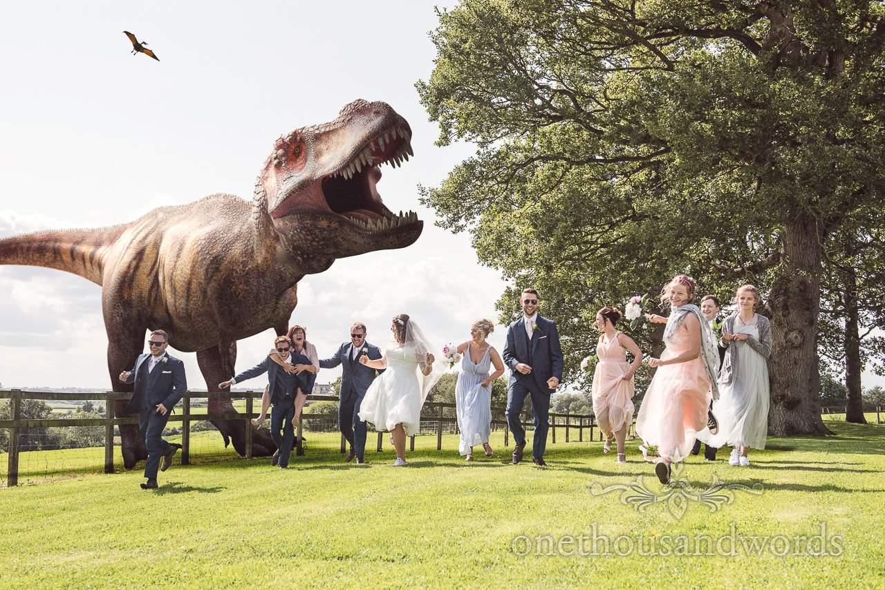 Dinosaur wedding photograph from reception at Coppleridge Inn Wedding