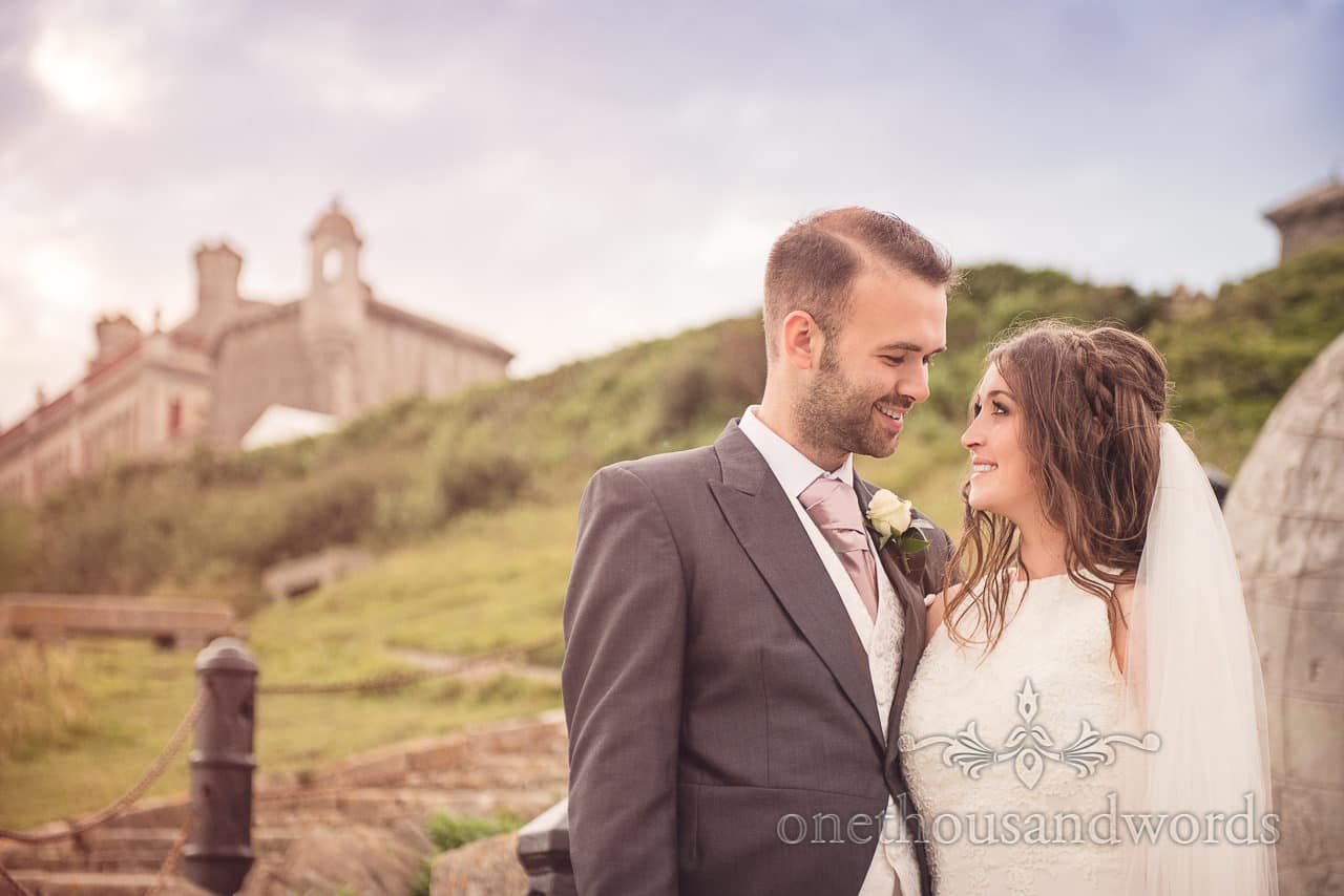 Durlston Castle Wedding Photographs of bride and groom in love