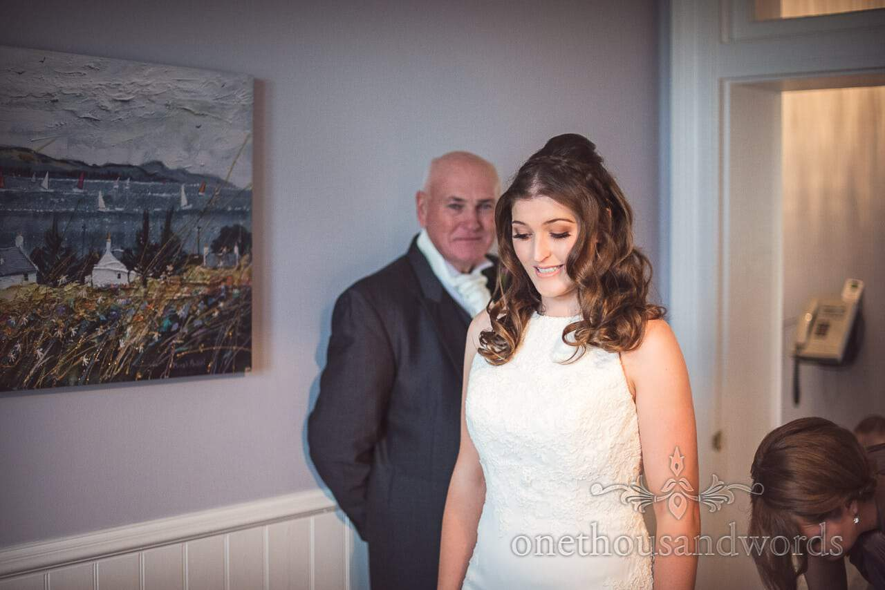 Father of bride wells up when he sees his daughter in wedding dress for first time