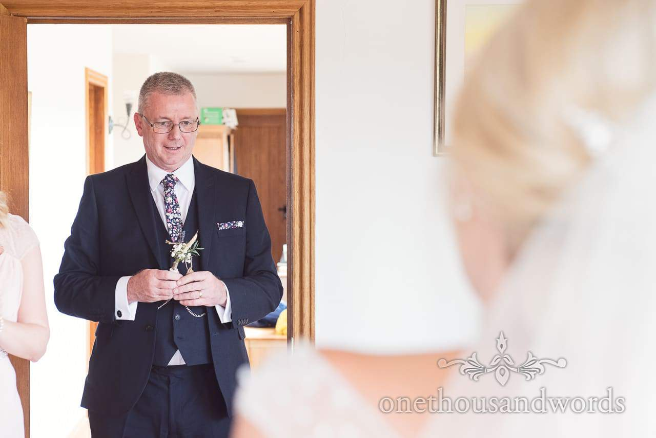 Father of the bride sees bride for the first time on wedding morning in Dorset