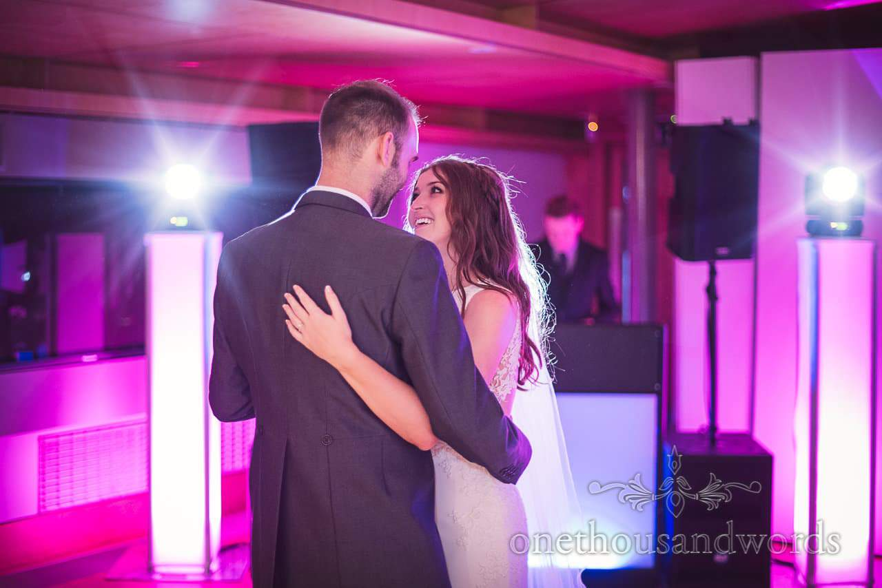 First dance with disco lights at Durlston Castle Wedding Photographs