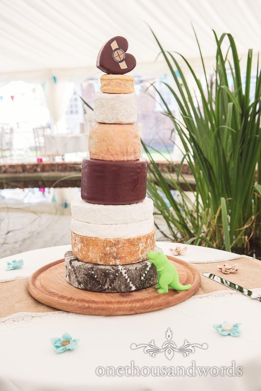 Godminster tower of cheese wedding cake at Coppleridge Inn Wedding Photographs