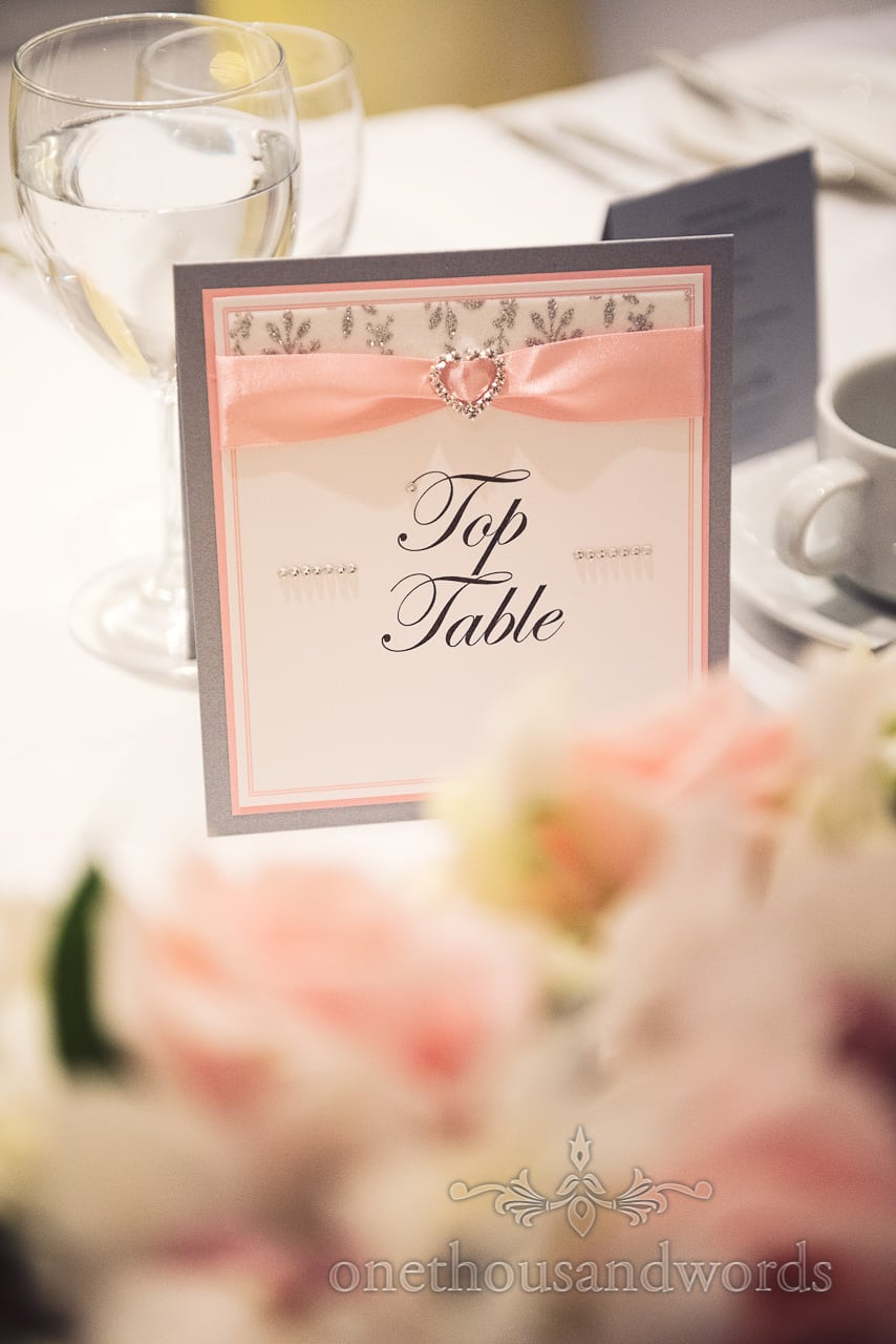 Grey and pink themed Top Table wedding sign with diamanté love heart and ribbon