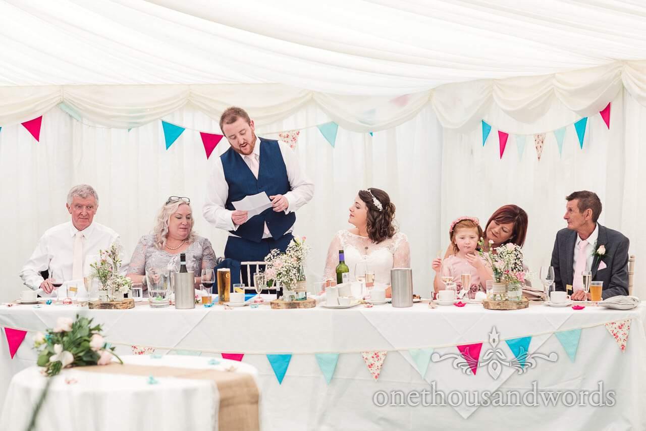 Groom delivers speech during reception at Coppleridge Inn Wedding Photographs