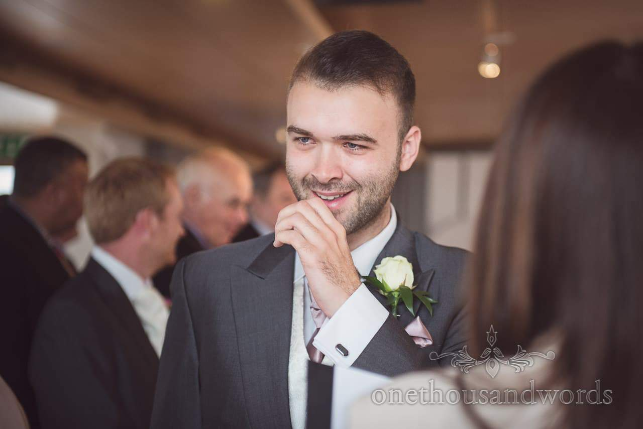Groom gets emotional as he waits for bride to walk down aisle at Durlston Castle