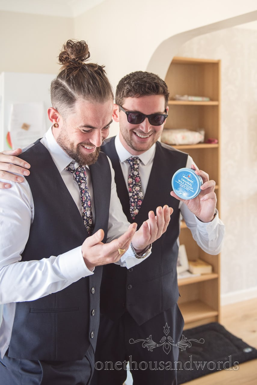 Groomsman nearly puts shoe wax into his hair during wedding morning preparations