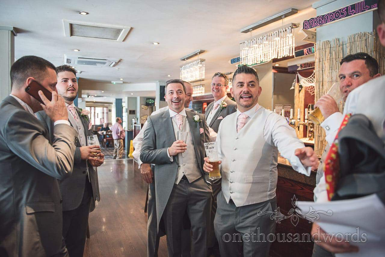 Groomsmen enjoy beer in The Mary Shelley in Bournemouth on wedding morning