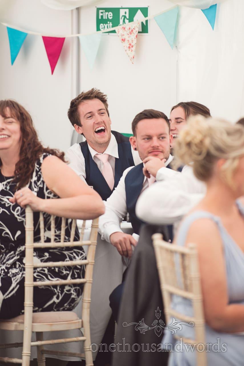 Guest reaction during speech at Coppleridge Inn Wedding Photographs