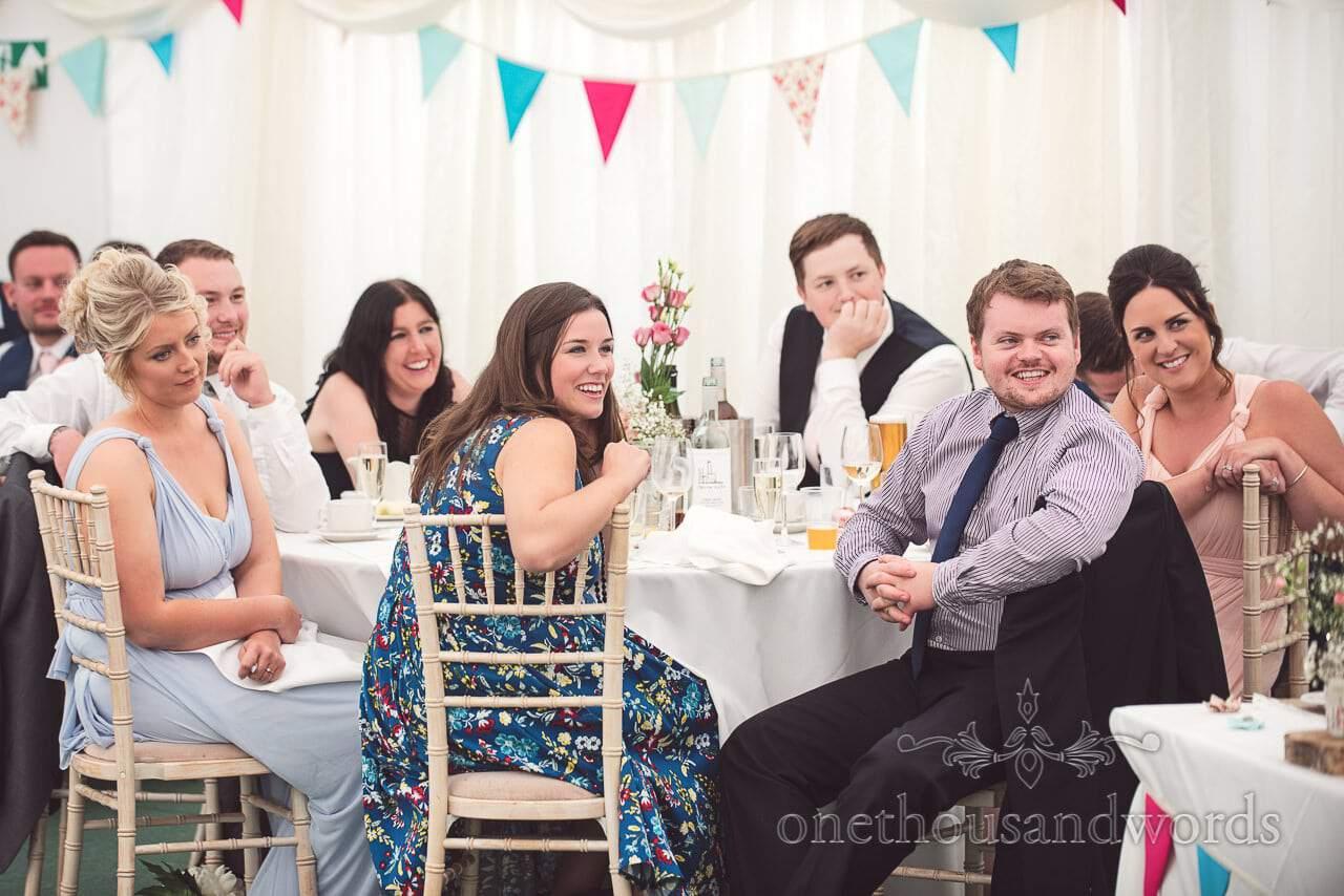 Guest reaction during speeches at Coppleridge Inn Wedding Photographs