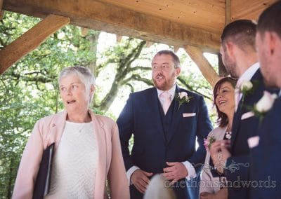 Here comes the bride arbour reaction at Coppleridge Inn Wedding Photographs