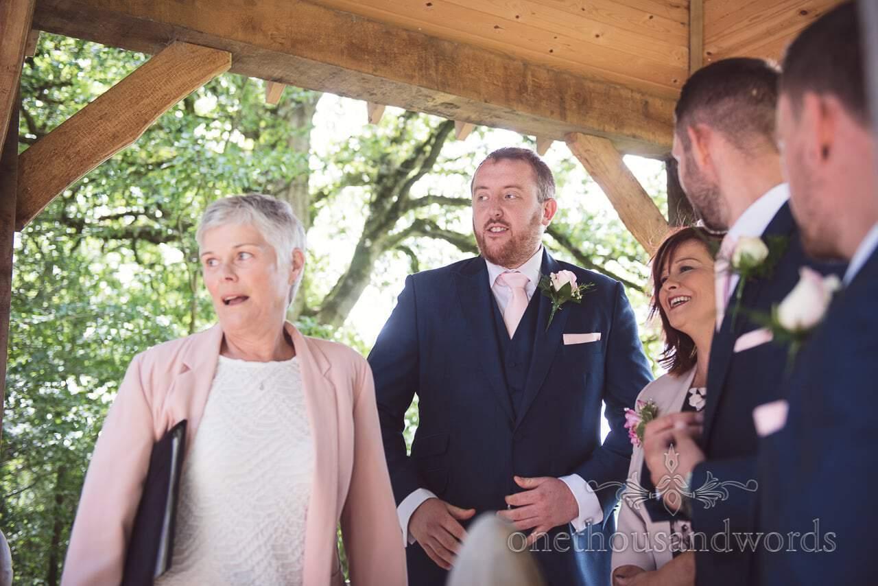 Here comes the bride arbour reaction at Coppleridge Inn Wedding Photographs