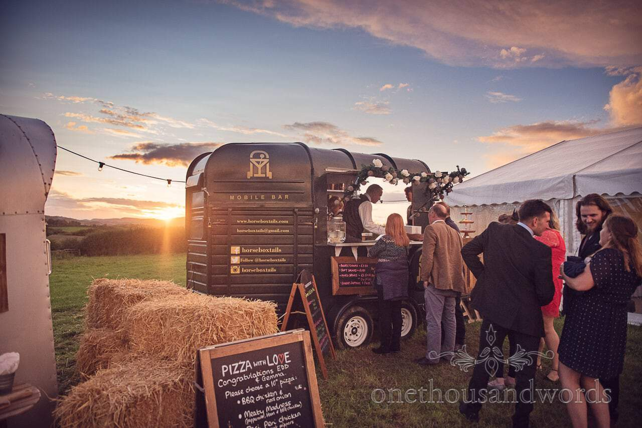 Horsebox mobile bar at Purbeck Valley Farm wedding photograph