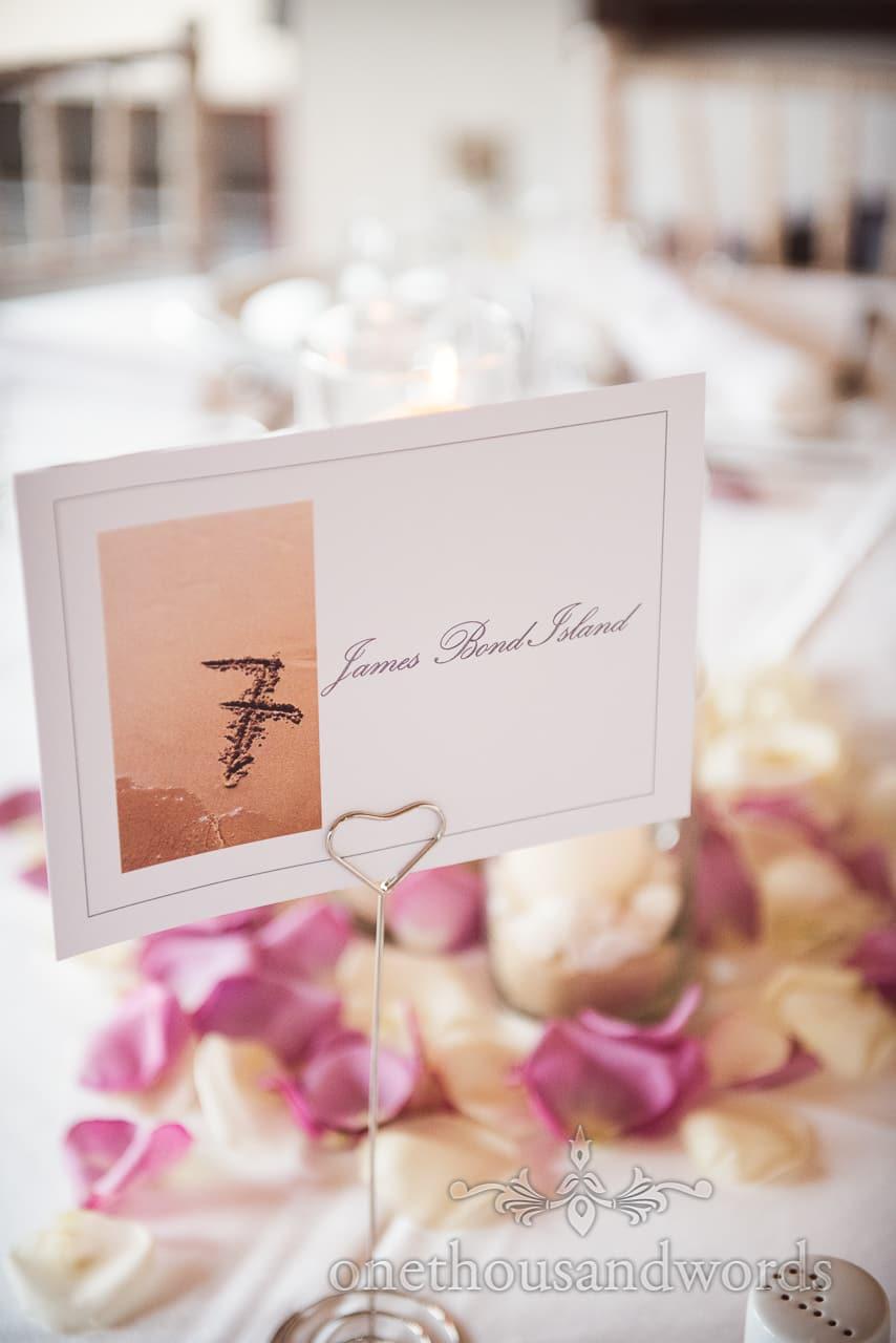 James Bond Island wedding table place name with sandy beach photograph