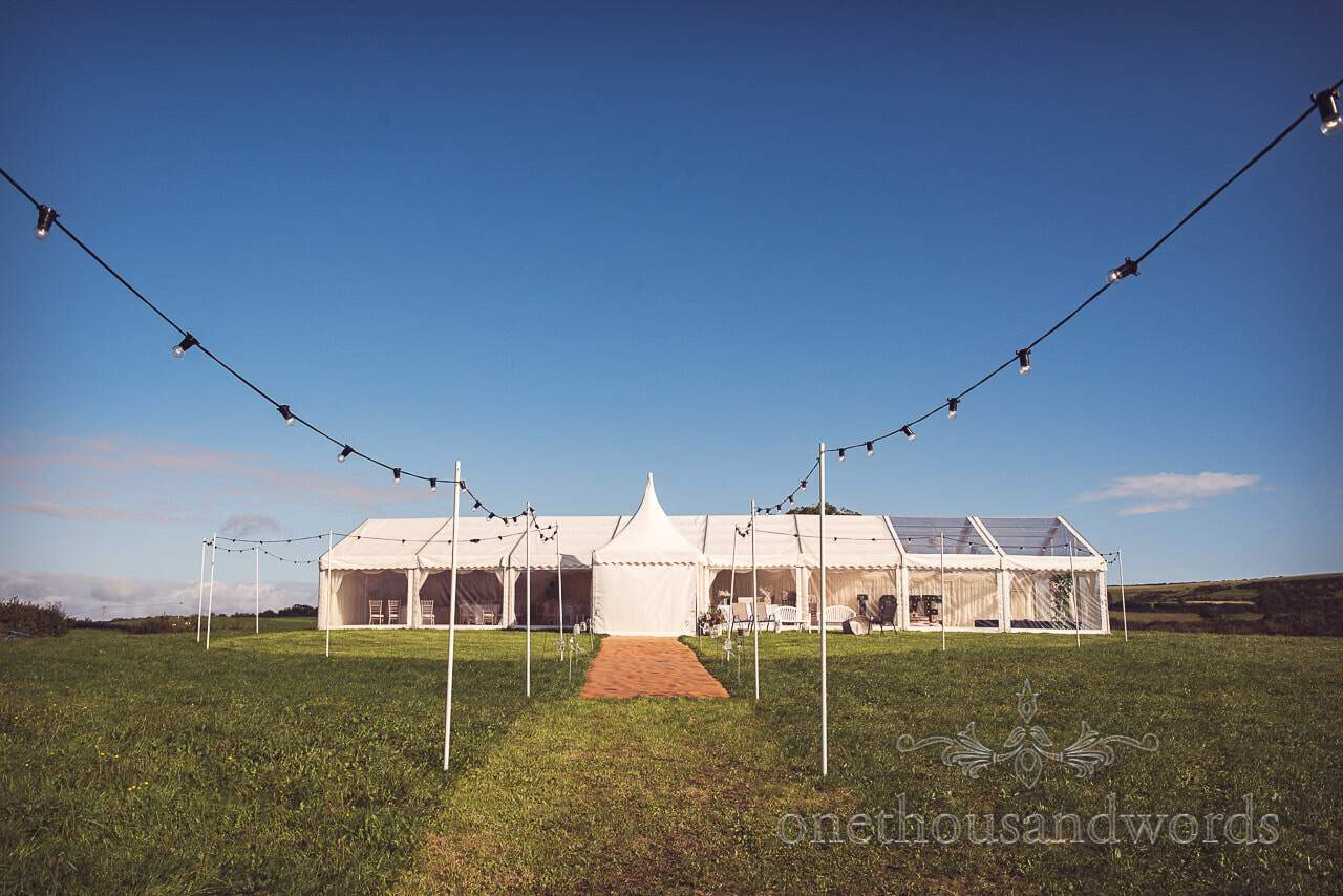 Large white wedding marquee at Purbeck Valley Farm Wedding venue