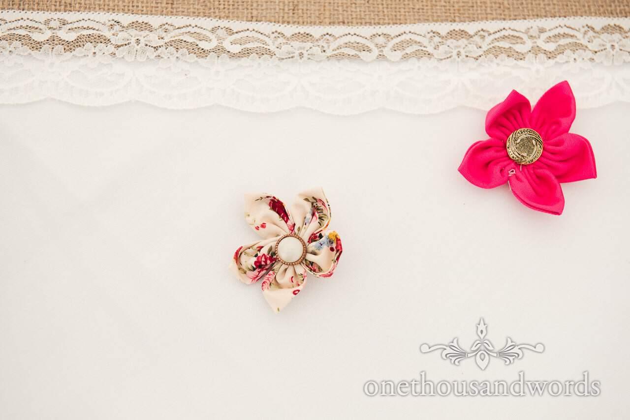 Material and button flower decoration at Coppleridge Inn Wedding Photographs