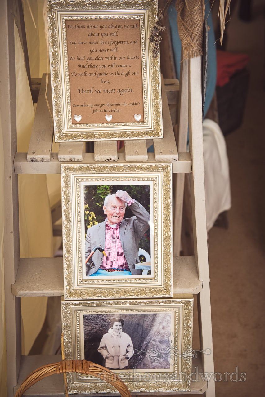 Pictures remembering grandparents from Purbeck Valley Farm wedding photographs