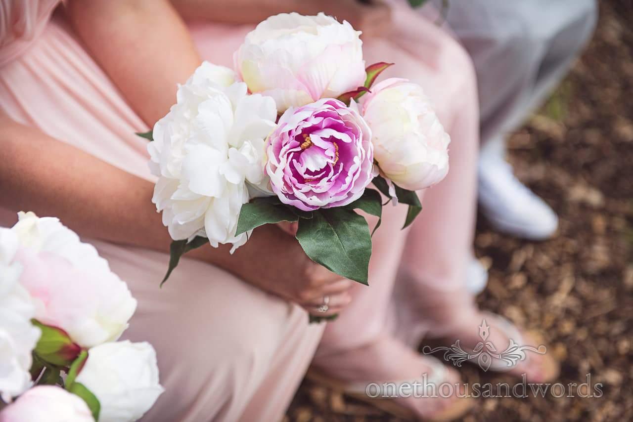 Pink and pastel bridesmaid bouquet at Coppleridge Inn Wedding