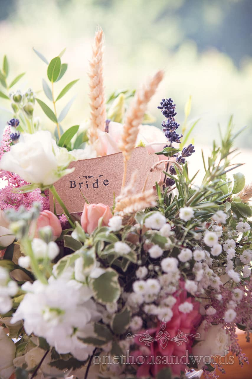 Stamped bride label in wild country flowers wedding bouquet by Wild Farm Flowers