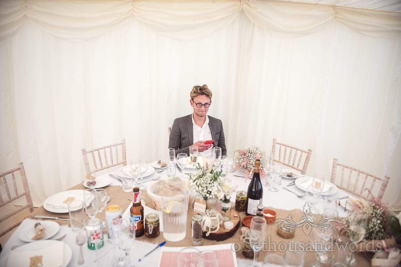 Table for one at reception from Purbeck Valley Farm wedding photographs