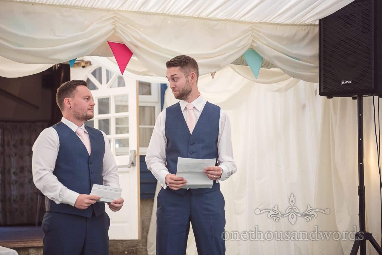 The two best men deliver their speech Coppleridge Inn Wedding Photographs