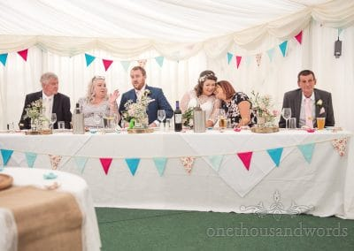 Top table reaction during best mens speech Coppleridge Inn Wedding Photographs