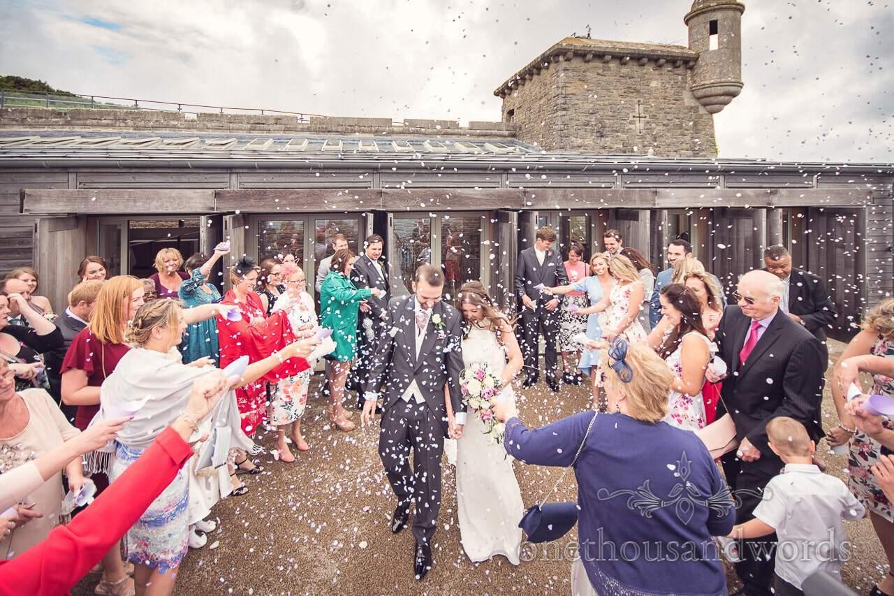 Wedding confetti photograph at Durlston Castle Wedding Photographs