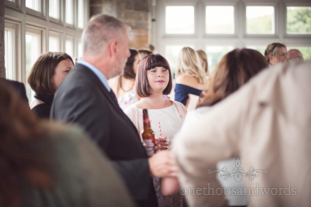 Wedding guest with bob hair cut in Belvedere suite at Durlston Castle Wedding