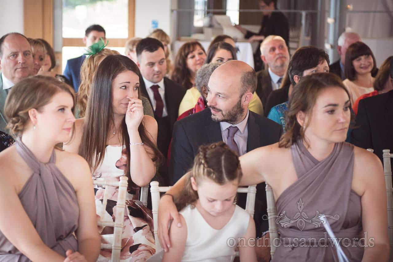 Wedding guests get emotional during Durlston Castle Wedding ceremony