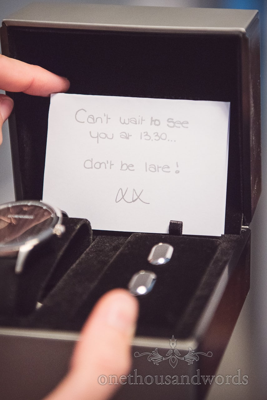 Wedding morning gift of watches and cufflinks with cant wait to see you note