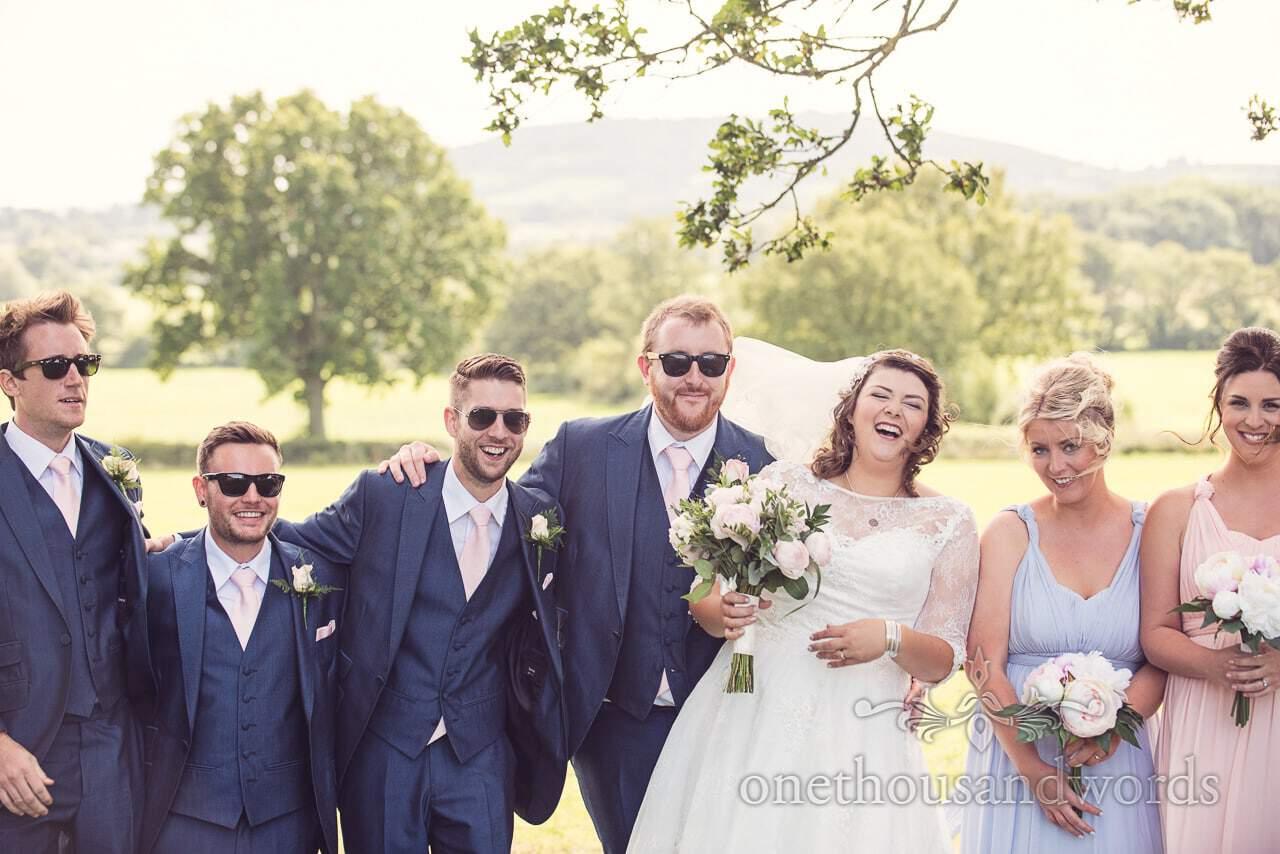 Wedding party group photograph at Coppleridge Inn Wedding