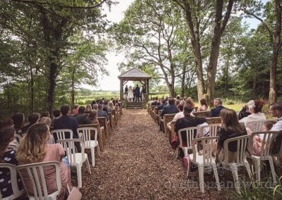 Woodland ceremony with arbour at Coppleridge Inn Wedding